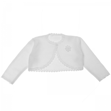 Baby Girls White Bolero With Flower