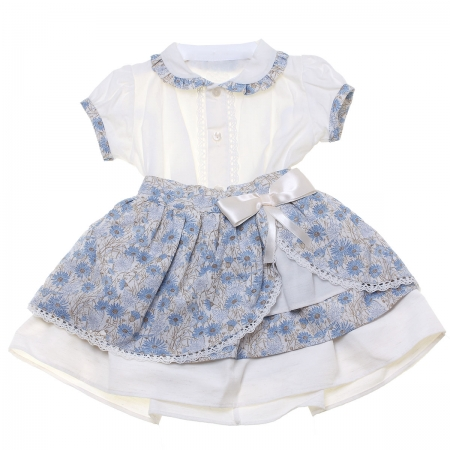 Sale Spanish Baby And Toddler Girls Ivory Blouse Blue Floral Skirt Set