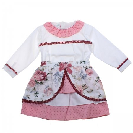 Sale Spanish Girls Ivory Blouse Pink Floral Skirt Set