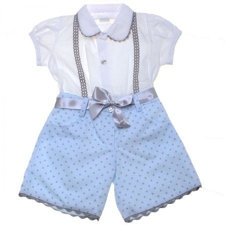 Sale Spanish Made Girls White Blouse Blue Polka Dots Shorts Set