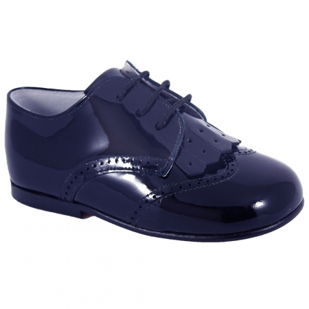Boys Navy Patent Shoes With Removable Flaps