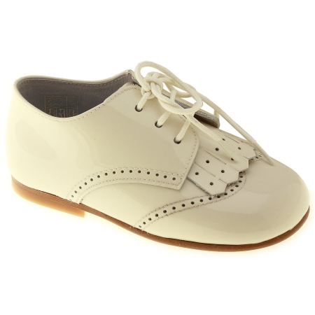 Boys Ivory Shoes Patent Leather Removable Flap Decoration