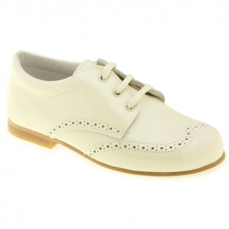 Boys Ivory Patent Shoes In Patent Leather