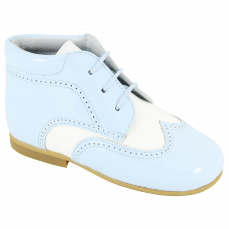 Boys Blue And White Boots Patent Leather Spanish
