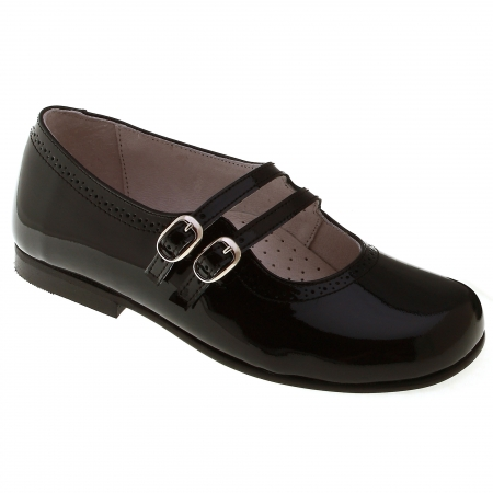 Girls Black Patent Shoes Leather Double Straps Mary Jane Style