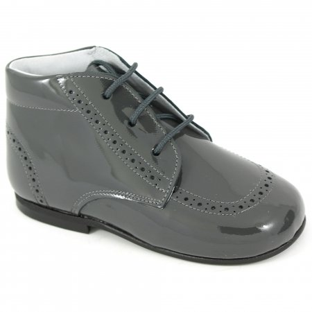 Boys Grey Boots In Patent Leather