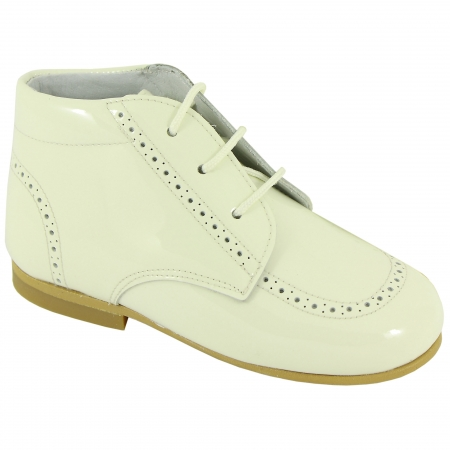 Boys Ivory Boots In Patent Leather