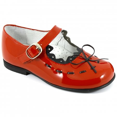 Girls Red And Black Patent Shoes