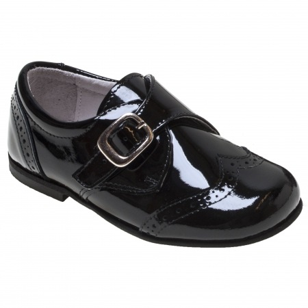 Boys Black Leather Patent Shoes