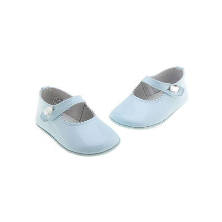 Baby Girls Blue Patent Shoes Diamante Button