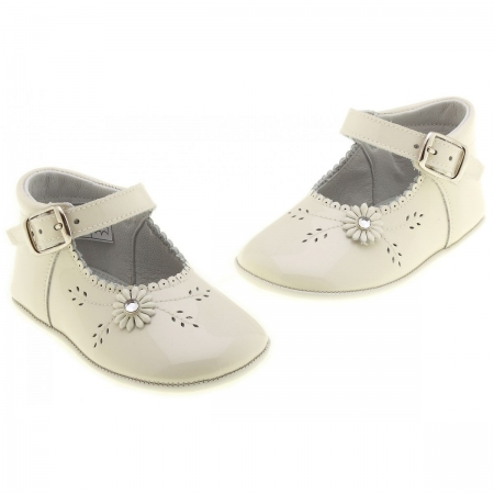 Baby girls ivory patent christening shoes
