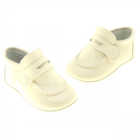 Velcro Fastening Baby Boys Ivory Shoes