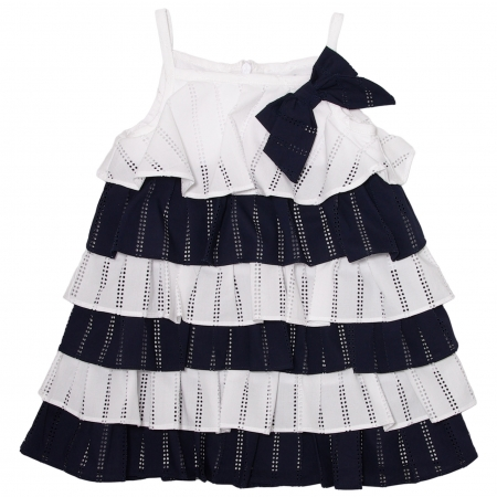 Sale Tutto Piccolo Sales Girls Navy And White Layered Dress