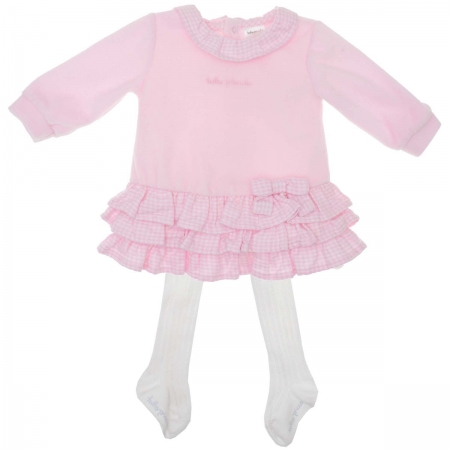 Sale Tutto Piccolo Baby Girls Pink Ruffle Dress White tights included Tights Set