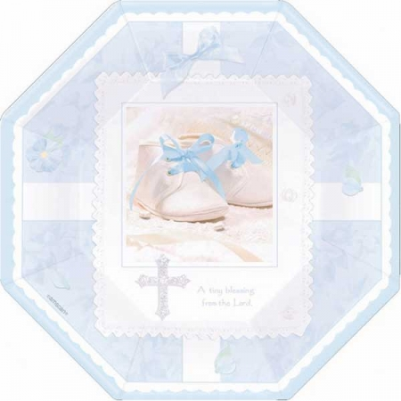 Pack of 8 Blue Christening Party Plates Small