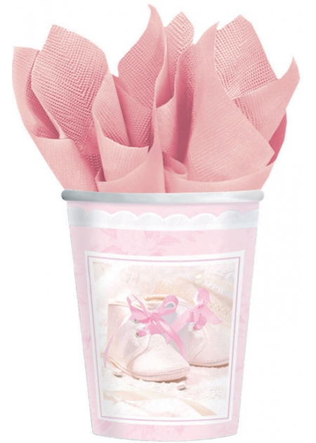 Pack of 8 Pink Christening Party Cups
