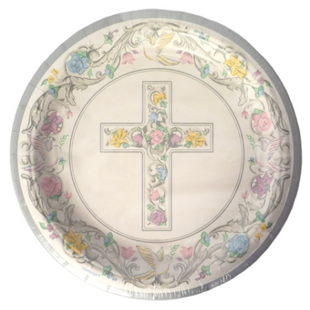 Pack of 8 Baptism Or Christening Party Plates Large