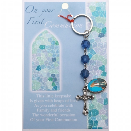 Communion Gift Keyring in Blue Beads
