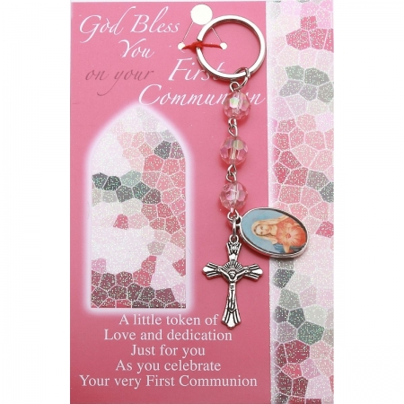 Communion Gift Keyring With Pink Beads